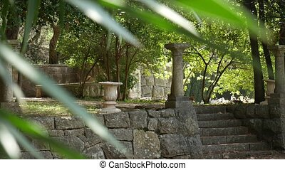 Ancient Greek columns. Territory Milocer Park, near Sveti...
