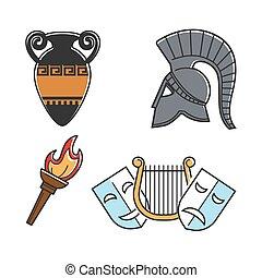 Ancient Greek culture symbols isolated cartoon illustrations set