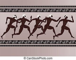 Ancient Greek figure - sportsmen runners in a vector