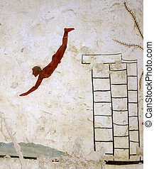 """Ancient Greek Fresco in Paestum, Italy, called the """"Tomb of the Diver"""" depicting men during a banquet."""