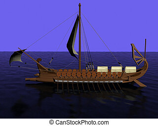 Ancient Greek galley of wood