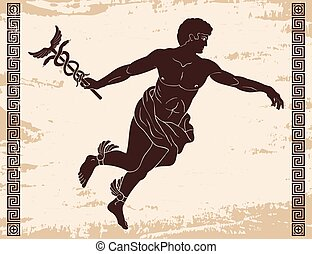 Ancient Greek god Hermes. - Ancient Greek god Hermes with a...