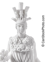 Athena the ancient Greek goddess of wisdom and science, isolated on white background