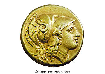 Ancient Greek gold coin, Alexander the Great, 3rd century BC
