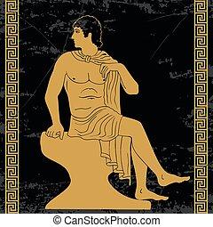Ancient Greek man. - Ancient Greek man sits on a rock and ...