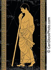 Ancient Greek man. - Ancient Greek man stands in profile...