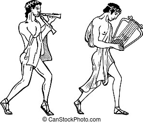 ancient Greek musicians. - Vector color illustration of...