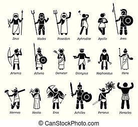 Vector set illustrations of ancient fantasy Gods and Goddesses characters from Greek mythology.