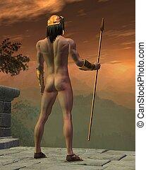 Ancient Greek or Spartan Warrior in bronze helmet and...