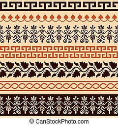 Ancient Greek pattern - seamless set of antique borders from...
