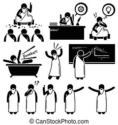 Set of human pictogram representing an ancient philosopher from Greek telling about his philosophy to people that are listening. He also writes and thinks a lot. He got his idea while taking bath and say the word Eureka.