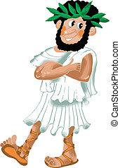 Ancient Greek philosopher comic illustration