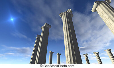 Ancient greek pillars built in a round