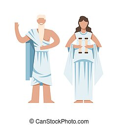 ancient Greek priest with torch, funny vector cartoon ...