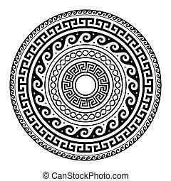 Ancient Greek round key pattern - meander art, mandala black...
