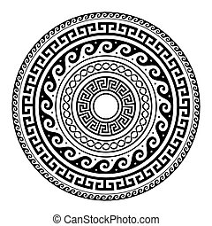Ancient Greek round key pattern - meander art, mandala black...