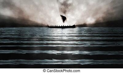 Ancient Greek Ship Background Loop