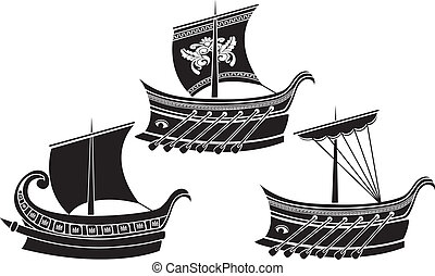 Ancient Greek ship set. stencil