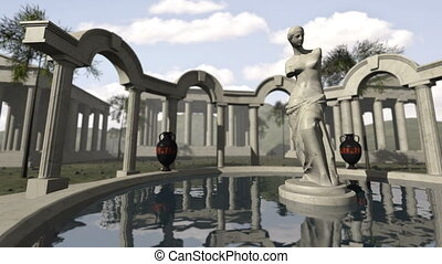Ancient greek temple and Venus of Milo 4K - An animated...