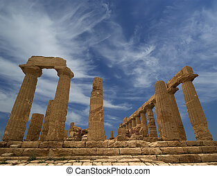 Ancient Greek Temple of Juno (V-VI century BC), Valley of the Temples, Agrigento, Sicily. The area was included in the UNESCO Heritage Site list in 1997