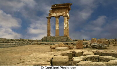 Ancient Greek Temple of the Dioscuri (V-VI century BC),...