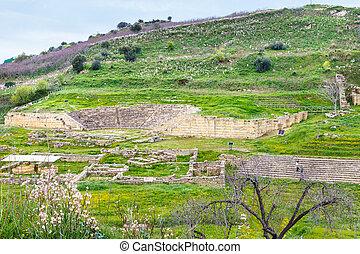 ancient greek theater and agora in Morgantina