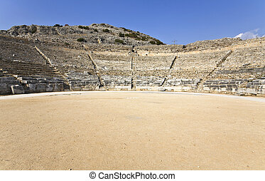 Ancient Greek theater at Filipois archaeological site at...
