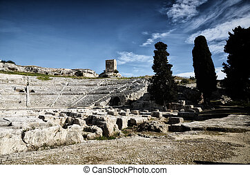 Ancient Greek theater in Syracuse Neapolis, Sicily, Italy
