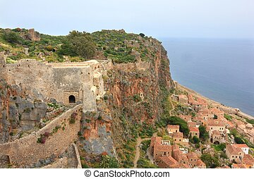 Ancient Greek town Monemvasia at coast