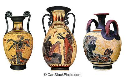 Ancient Greek vase isolated on white background