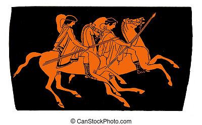 Ancient greek vase: knights