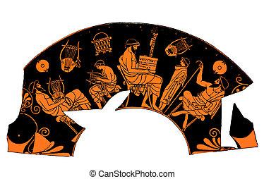Ancient Greek vase, music school lesson