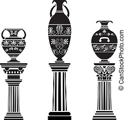 Ancient Greek vase on column. stencil set