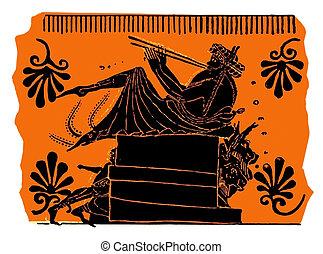Ancient Greek vase painting, flute player