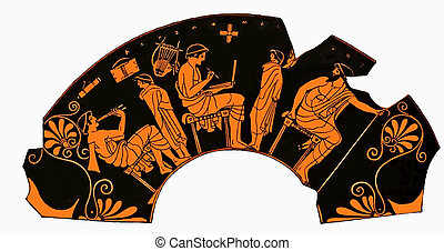 Ancient Greek vase, school lesson, writing and music
