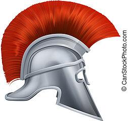 Ancient Greek Warrior Helmet - Illustration of side on...