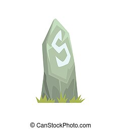 Ancient grey tombstone vector Illustration