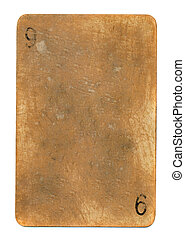 ancient grunge playing card paper sheet background with number 9