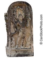 Ancient guardstone at vatadage in Polonnaruwa, Sri Lanka -...