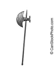 Ancient halberd  Ancient military pole-axe on white