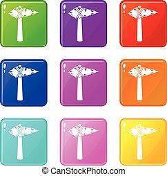 Ancient hammer icons 9 set - Ancient hammer icons of 9 color...