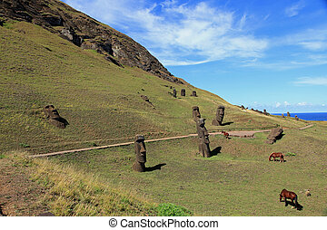 Easter Island - Ancient hand carved moai statues on Easter ...