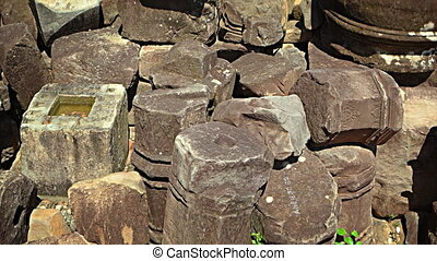 Ancient, Hand Carved Stone Rubble from Angkor Wat Temple in...
