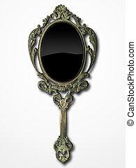 ancient hand mirror on white background