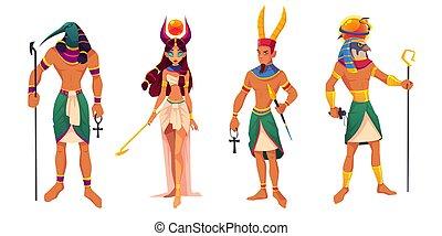 ancient, hathor, thoth, ægypten, guder, ra., guddomme, amun