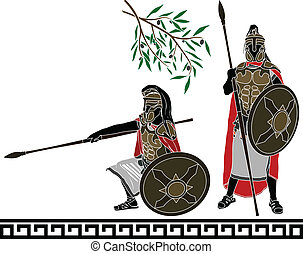 ancient hellenic warriors. second variant. vector...
