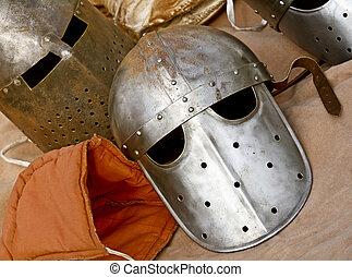 ancient helmet - close up of ancient metal helmet background