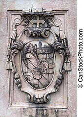 Ancient heraldic coat of arms on one of the pillars in the Mirabell Gardens. Salzburg, Austria