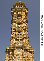 Ancient Hindu Victory Tower - Ornate carved stone victory...