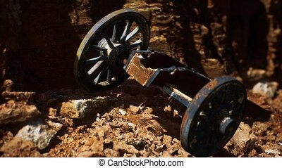 ancient historic gun in the stone canyon